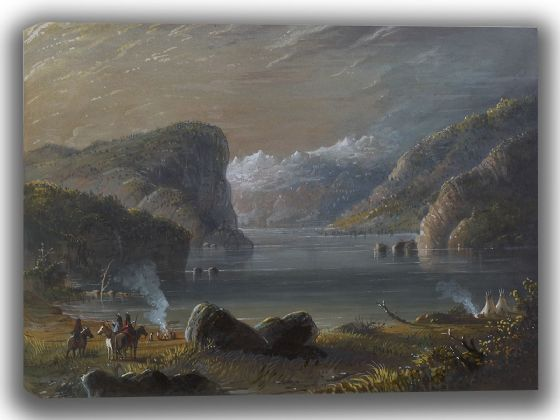 Miller, Alfred Jacob: Lake Scene. Fine Art Canvas. Sizes: A4/A3/A2/A1 (003832)